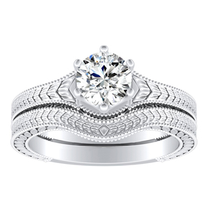 REAGAN Vintage Style Solitaire Diamond Wedding Ring Set In 14K White Gold With 0.50ct. Round Diamond
