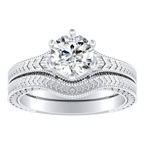 REAGAN Vintage Style Solitaire Bridal Set In 14K White Gold