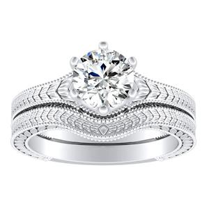 REAGAN Vintage Style Solitaire Diamond Wedding Ring Set In 14K White Gold