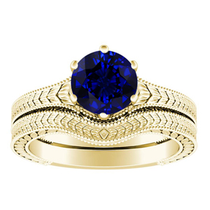 REAGAN  Solitaire  Blue  Sapphire  Wedding  Ring  Set  In  14K  Yellow  Gold  With  0.50  Carat  Round  Stone