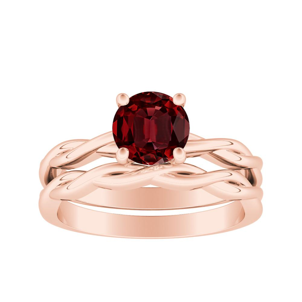ELISE Twisted Solitaire Ruby Wedding Ring Set In 14K Rose Gold With 0.50 Carat Round Stone