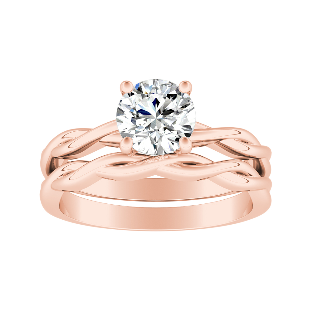 ELISE Twisted Solitaire Moissanite Wedding Ring Set In 14K Rose Gold With 0.50 Carat Round Stone