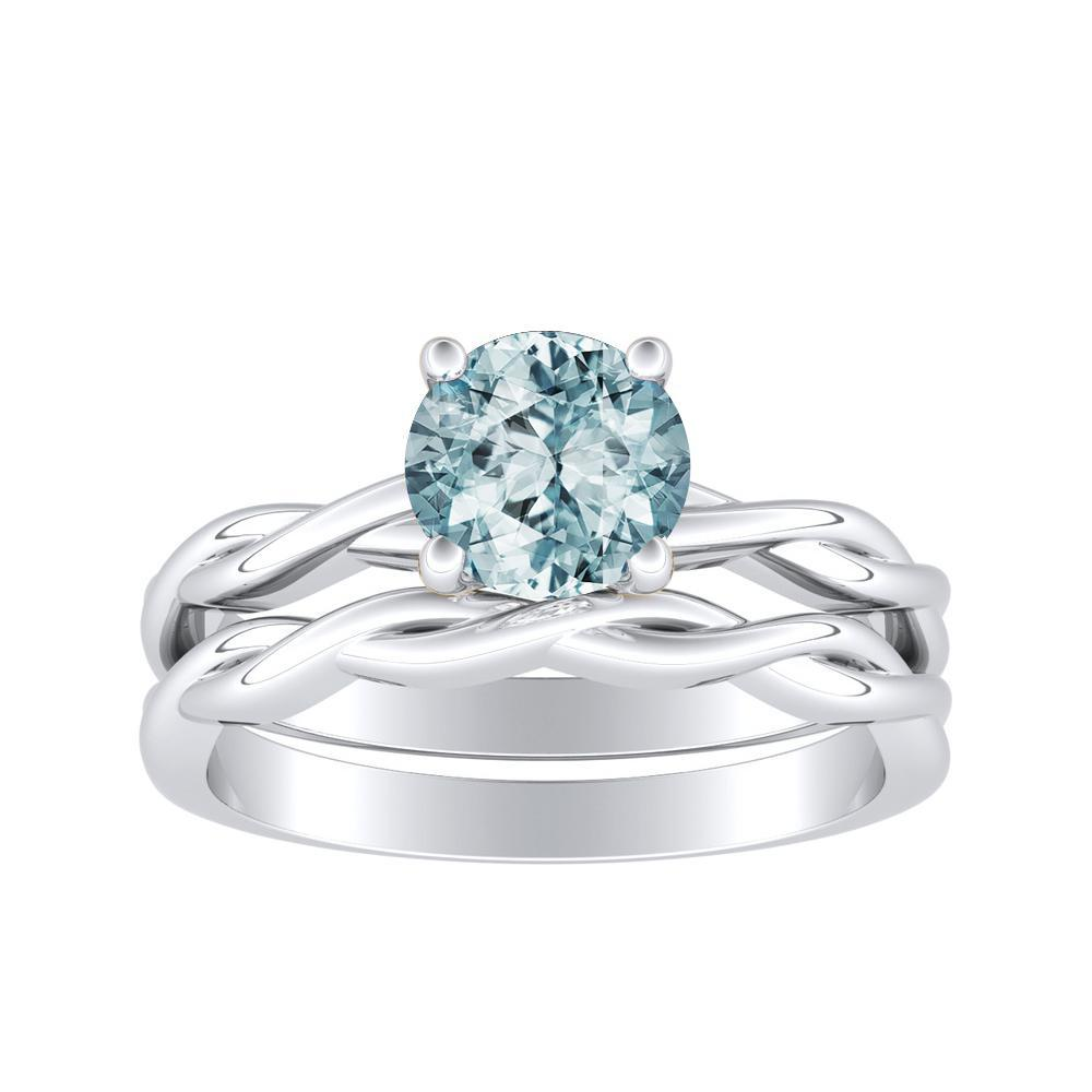 ELISE Twisted Solitaire Aquamarine Wedding Ring Set In 14K White Gold With 1.00 Carat Round Stone