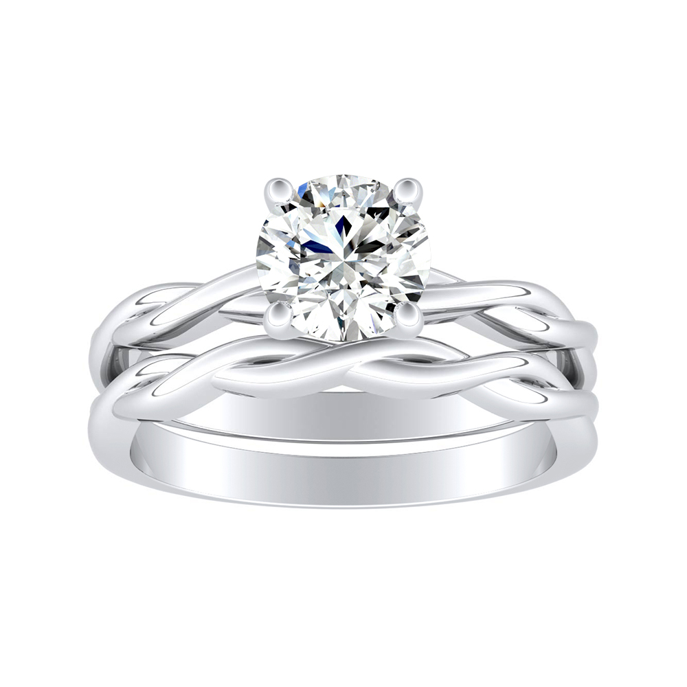 ELISE Twisted Solitaire Diamond Wedding Ring Set In 14K White Gold