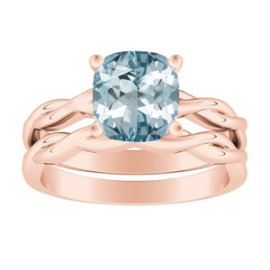 ELISE  Twisted  Solitaire  Aquamarine  Wedding  Ring  Set  In  14K  Rose  Gold  With  1.00  Carat  Cushion  Stone