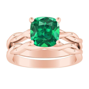 ELISE  Twisted  Solitaire  Green  Emerald  Wedding  Ring  Set  In  14K  Rose  Gold  With  0.50  Carat  Cushion  Stone