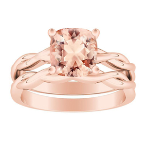 ELISE  Twisted  Solitaire  Morganite  Wedding  Ring  Set  In  14K  Rose  Gold  With  1.00  Carat  Cushion  Stone