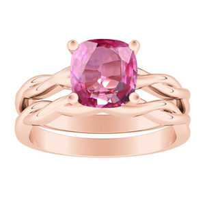 ELISE  Twisted  Solitaire  Pink  Sapphire  Wedding  Ring  Set  In  14K  Rose  Gold  With  0.50  Carat  Cushion  Stone