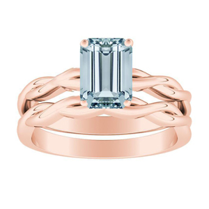ELISE  Twisted  Solitaire  Aquamarine  Wedding  Ring  Set  In  14K  Rose  Gold  With  1.00  Carat  Emerald  Stone