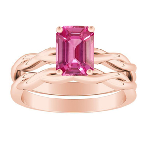 ELISE  Twisted  Solitaire  Pink  Sapphire  Wedding  Ring  Set  In  14K  Rose  Gold  With  0.50  Carat  Emerald  Stone