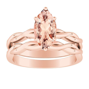 ELISE  Twisted  Solitaire  Morganite  Wedding  Ring  Set  In  14K  Rose  Gold  With  1.00  Carat  Marquise  Stone
