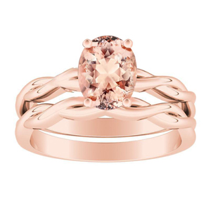 ELISE  Twisted  Solitaire  Morganite  Wedding  Ring  Set  In  14K  Rose  Gold  With  1.00  Carat  Oval  Stone