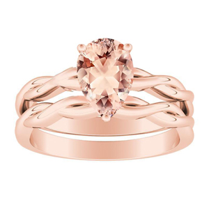 ELISE  Twisted  Solitaire  Morganite  Wedding  Ring  Set  In  14K  Rose  Gold  With  1.00  Carat  Pear  Stone