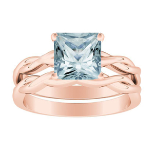 ELISE  Twisted  Solitaire  Aquamarine  Wedding  Ring  Set  In  14K  Rose  Gold  With  1.00  Carat  Princess  Stone