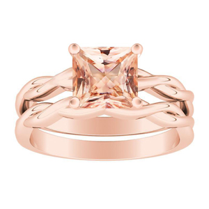 ELISE  Twisted  Solitaire  Morganite  Wedding  Ring  Set  In  14K  Rose  Gold  With  1.00  Carat  Princess  Stone