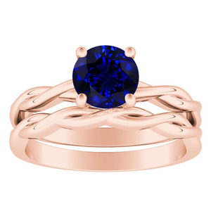 ELISE  Twisted  Solitaire  Blue  Sapphire  Wedding  Ring  Set  In  14K  Rose  Gold  With  0.50  Carat  Round  Stone
