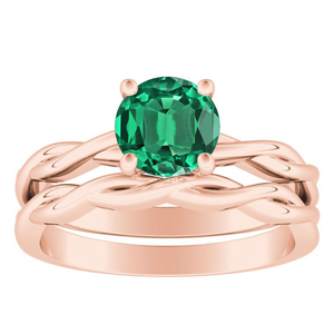 ELISE  Twisted  Solitaire  Green  Emerald  Wedding  Ring  Set  In  14K  Rose  Gold  With  0.50  Carat  Round  Stone