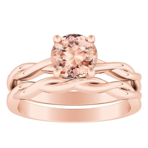 ELISE  Twisted  Solitaire  Morganite  Wedding  Ring  Set  In  14K  Rose  Gold  With  1.00  Carat  Round  Stone