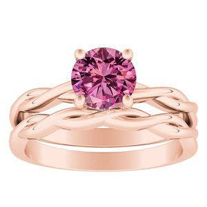 ELISE  Twisted  Solitaire  Pink  Sapphire  Wedding  Ring  Set  In  14K  Rose  Gold  With  0.50  Carat  Round  Stone