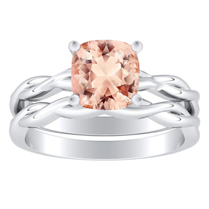 <span>ELISE</span> Twisted  Solitaire  Morganite  Wedding  Ring  Set  In  14K  White  Gold  With  1.00  Carat  Cushion  Stone