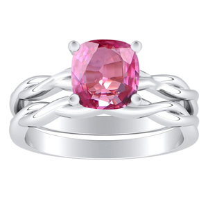 ELISE  Twisted  Solitaire  Pink  Sapphire  Wedding  Ring  Set  In  14K  White  Gold  With  0.50  Carat  Cushion  Stone