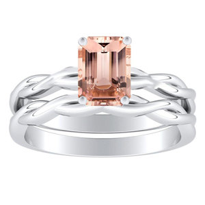 ELISE  Twisted  Solitaire  Morganite  Wedding  Ring  Set  In  14K  White  Gold  With  1.00  Carat  Emerald  Stone