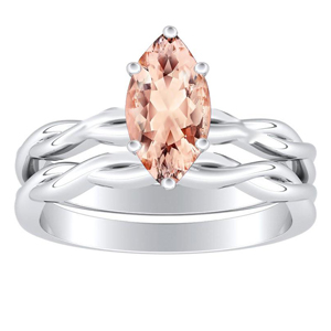 ELISE  Twisted  Solitaire  Morganite  Wedding  Ring  Set  In  14K  White  Gold  With  1.00  Carat  Marquise  Stone