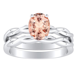 ELISE  Twisted  Solitaire  Morganite  Wedding  Ring  Set  In  14K  White  Gold  With  1.00  Carat  Oval  Stone