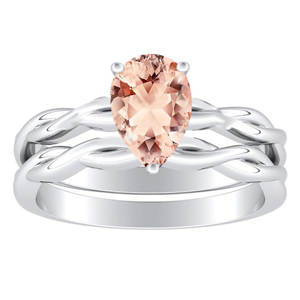 ELISE  Twisted  Solitaire  Morganite  Wedding  Ring  Set  In  14K  White  Gold  With  1.00  Carat  Pear  Stone