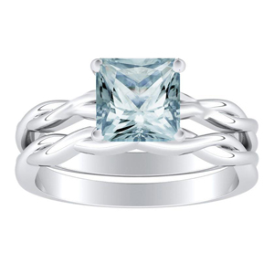 ELISE  Twisted  Solitaire  Aquamarine  Wedding  Ring  Set  In  14K  White  Gold  With  1.00  Carat  Princess  Stone