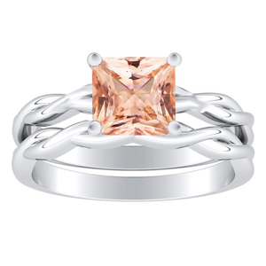 ELISE  Twisted  Solitaire  Morganite  Wedding  Ring  Set  In  14K  White  Gold  With  1.00  Carat  Princess  Stone