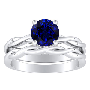 ELISE  Twisted  Solitaire  Blue  Sapphire  Wedding  Ring  Set  In  14K  White  Gold  With  0.50  Carat  Round  Stone