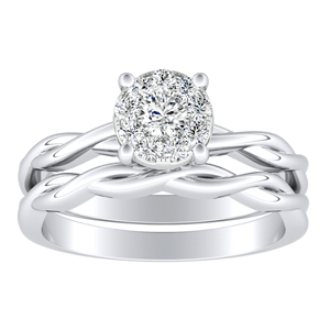 ELISE Twisted Solitaire Diamond Wedding Ring Set In 14K White Gold With 0.25 Carat Round Diamond In H-I SI1-SI2 Quality