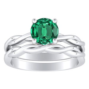 <span>ELISE</span> Twisted  Solitaire  Green  Emerald  Wedding  Ring  Set  In  14K  White  Gold  With  0.50  Carat  Round  Stone
