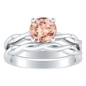 ELISE  Twisted  Solitaire  Morganite  Wedding  Ring  Set  In  14K  White  Gold  With  1.00  Carat  Round  Stone