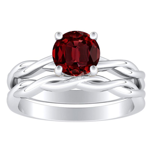 <span>ELISE</span> Twisted  Solitaire  Ruby  Wedding  Ring  Set  In  14K  White  Gold  With  0.50  Carat  Round  Stone
