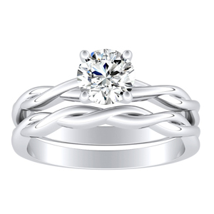 ELISE  Twisted  Solitaire  Moissanite  Wedding  Ring  Set  In  14K  White  Gold  With  0.50  Carat  Round  Stone