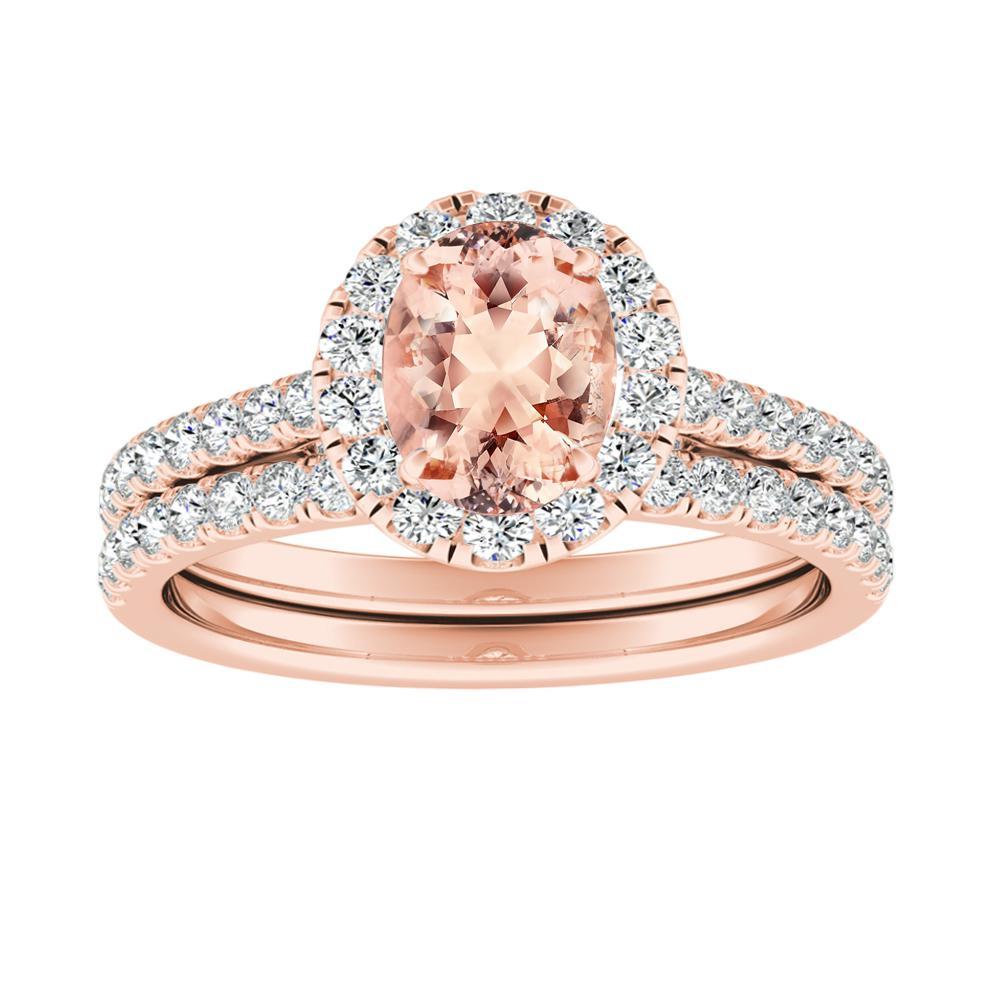 Merilyn Halo Morganite Wedding Ring Set In 14k Rose Gold With 1 00 Carat Oval Stone