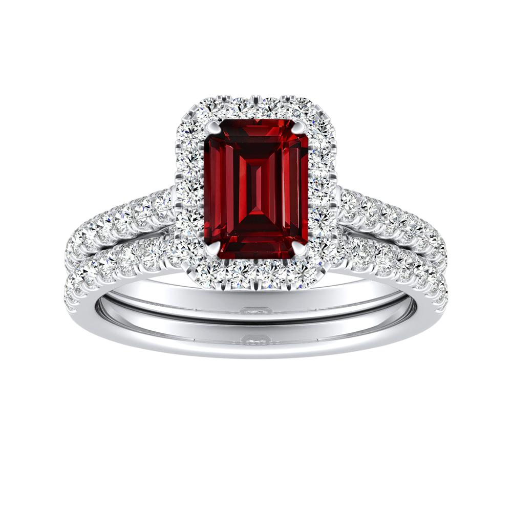 MERILYN Halo Ruby Wedding Ring Set In 14K White Gold With 1.50 Carat Emerald Stone