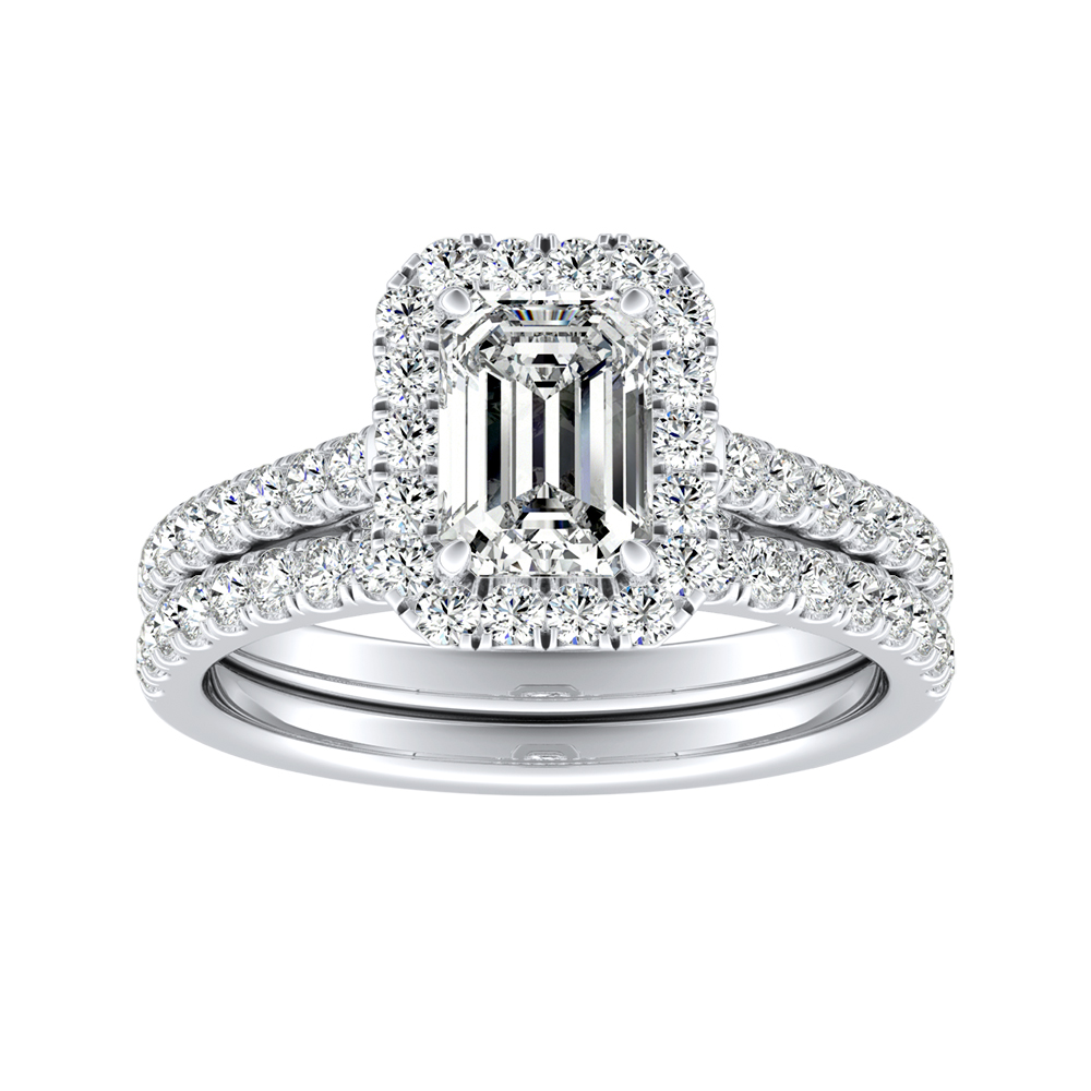 MERILYN Halo Diamond Wedding Ring Set In 14K White Gold