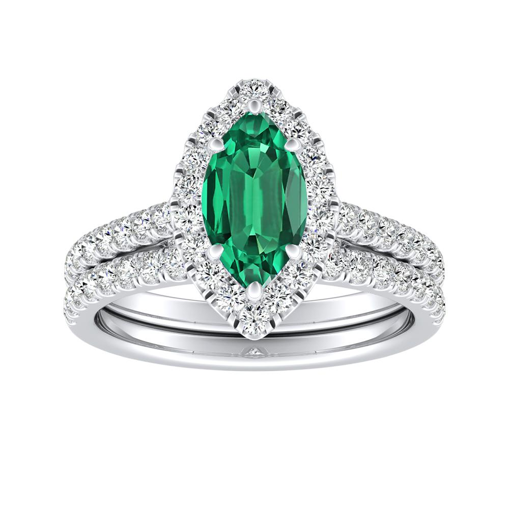 Emerald Wedding Band.Merilyn Halo Green Emerald Wedding Ring Set In 14k White Gold With 0 50 Carat Marquise Stone