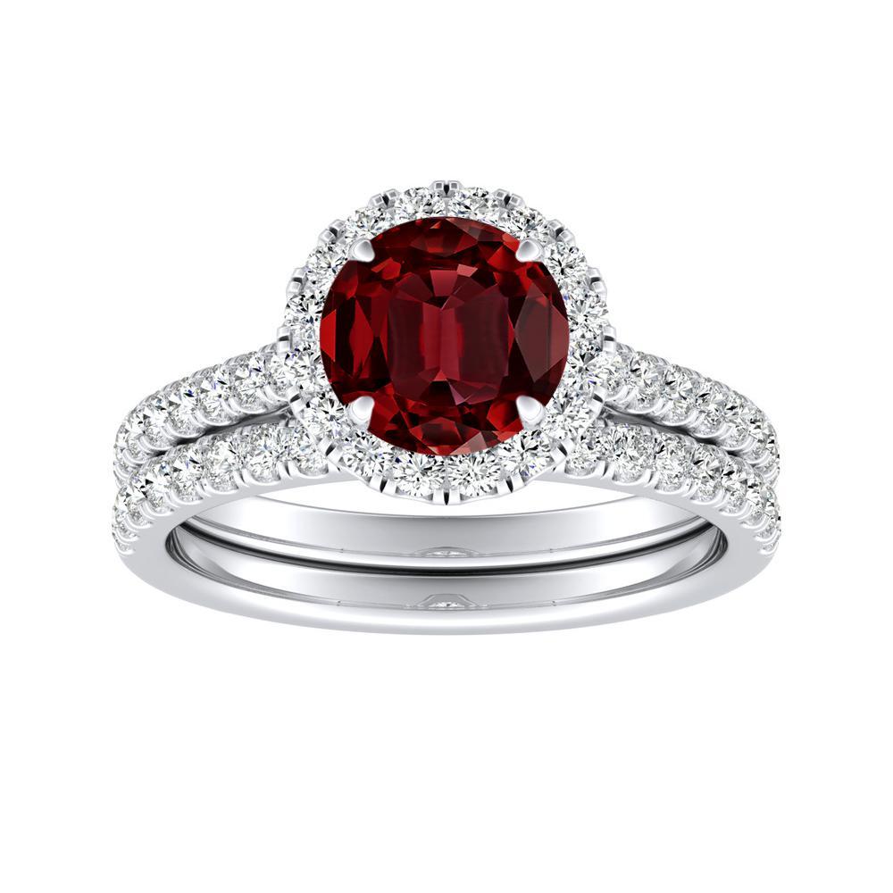 MERILYN Halo Ruby Wedding Ring Set In 14K White Gold With 0.50 Carat Round Stone