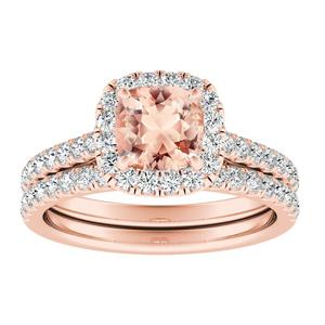 MERILYN  Halo  Morganite  Wedding  Ring  Set  In  14K  Rose  Gold  With  1.00  Carat  Cushion  Stone