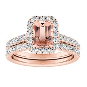 MERILYN Halo Morganite Wedding Ring Set In 14K Rose Gold With 1.00 Carat Emerald Stone