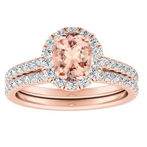 MERILYN  Halo  Morganite  Wedding  Ring  Set  In  14K  Rose  Gold  With  1.00  Carat  Oval  Stone