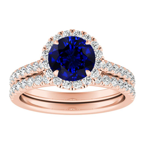 MERILYN Halo Blue Sapphire Wedding Ring Set In 14K Rose Gold With 0.50 Carat Round Stone