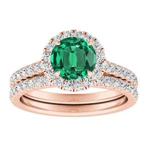 MERILYN Halo Green Emerald Wedding Ring Set In 14K Rose Gold With 0.50 Carat Round Stone
