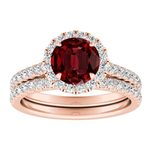 MERILYN Halo Ruby Wedding Ring Set In 14K Rose Gold With 0.50 Carat Round Stone