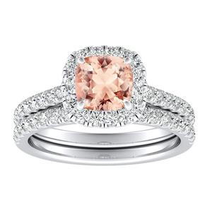 <span>MERILYN</span> Halo  Morganite  Wedding  Ring  Set  In  14K  White  Gold  With  1.00  Carat  Cushion  Stone