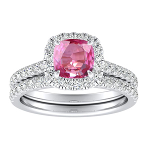 MERILYN  Halo  Pink  Sapphire  Wedding  Ring  Set  In  14K  White  Gold  With  0.50  Carat  Cushion  Stone
